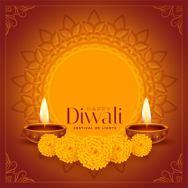 Diwali felice diya decorativo e sfondo di fiori Vettore gratuito