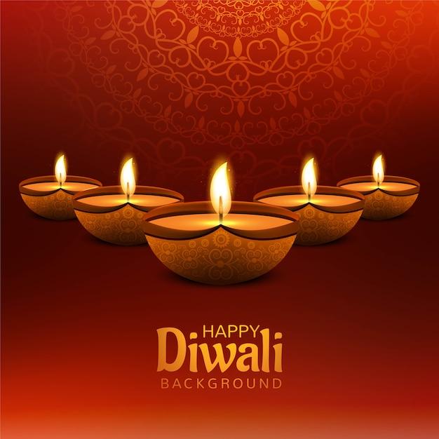 Fondo decorativo felice della carta di festival della lampada a olio di diwali Vettore gratuito