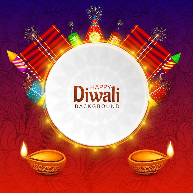 Happy diwali decorative oil lamp on fire cracker celebration Free Vector