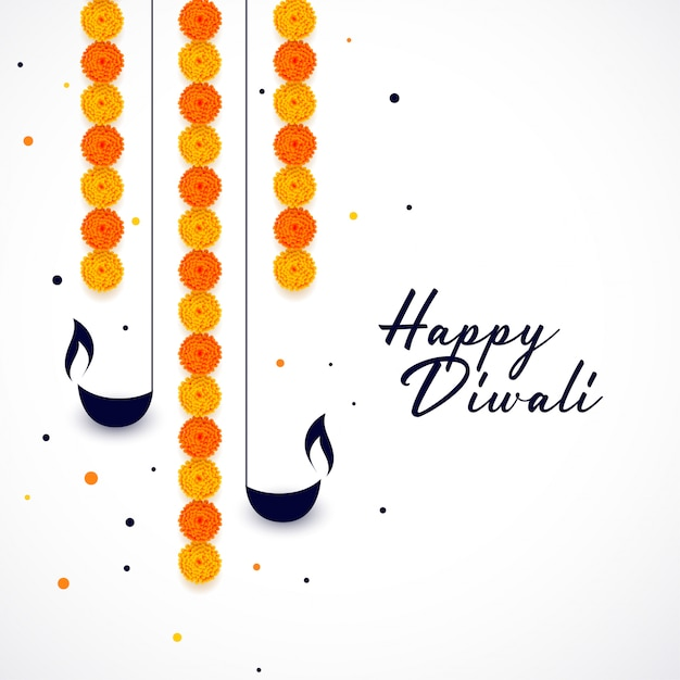 Happy diwali diya and flower decoration background Free Vector
