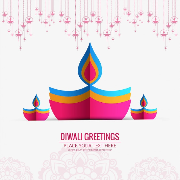 Happy diwali diya oil lamp festival business card design Free Vector