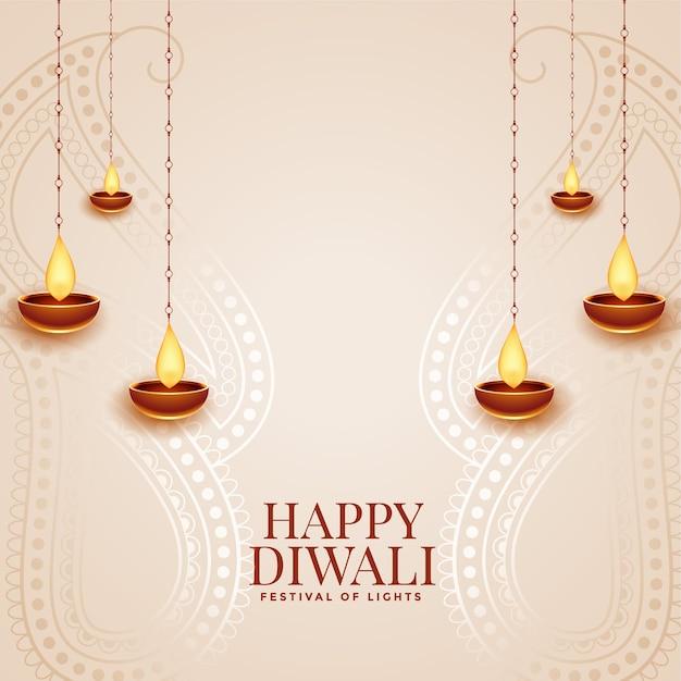 Happy diwali elegant festival greeting card with diya design Free Vector