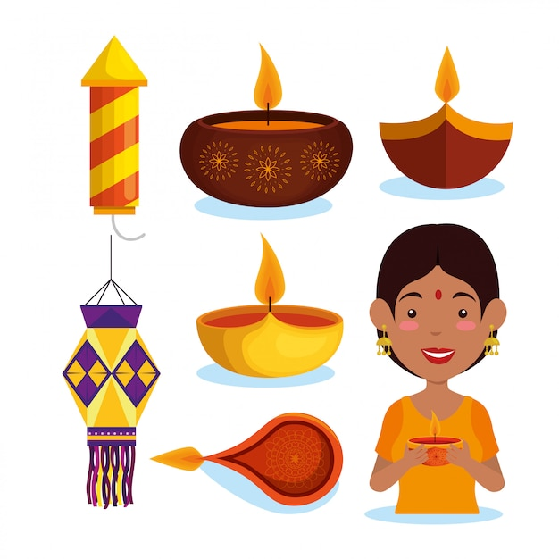 Happy diwali element collection Free Vector