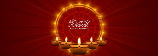 Happy diwali festival banner with colorful Free Vector
