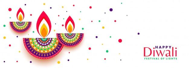 Happy diwali festival celebration colorful banner Free Vector