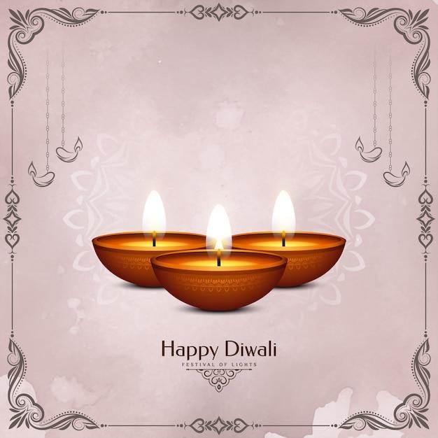 Cartolina d'auguri felice di celebrazione del festival di diwali con cornice e candele Vettore gratuito