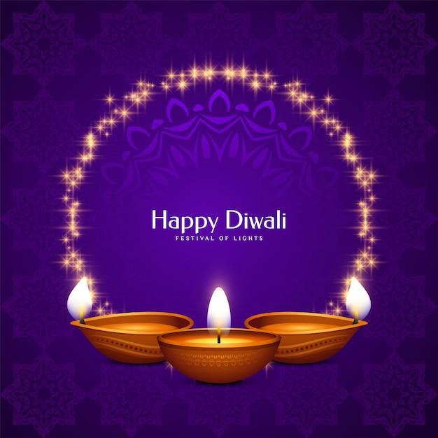 Cartolina d'auguri di felice diwali festival celebrazione viola con cornice e candele Vettore gratuito