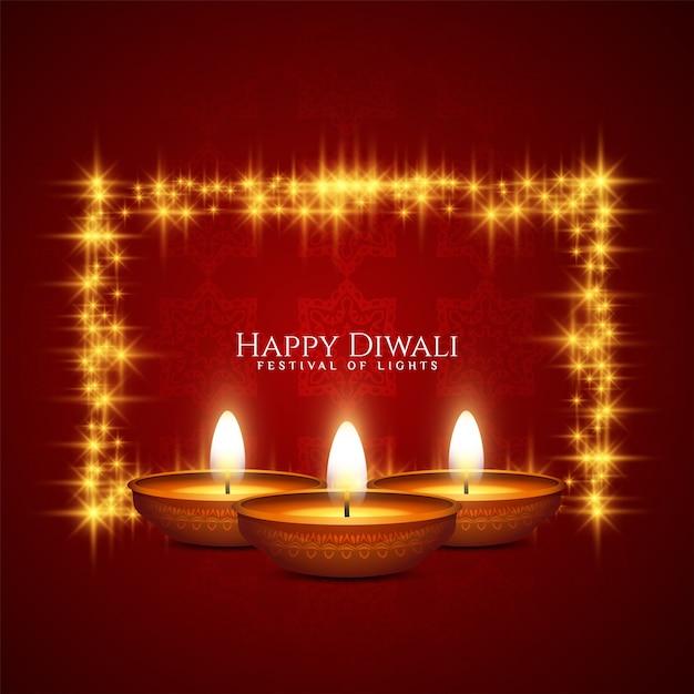 Cartolina d'auguri rossa felice di celebrazione di festival di diwali con la struttura e le candele Vettore gratuito