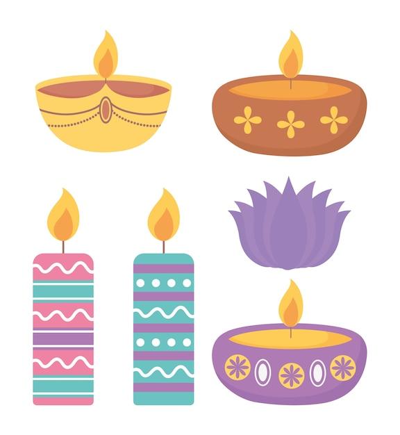 Фестиваль счастливого дивали, разноцветные свечи, горящее пламя, украшение. Premium векторы