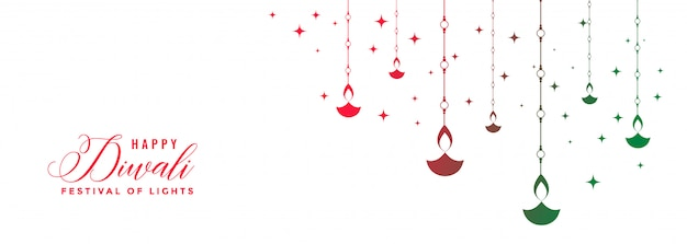 Happy diwali festival colorful diya white banner Free Vector