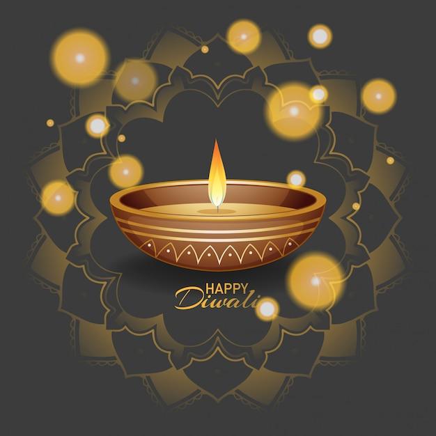 Happy diwali festival greeting card Free Vector