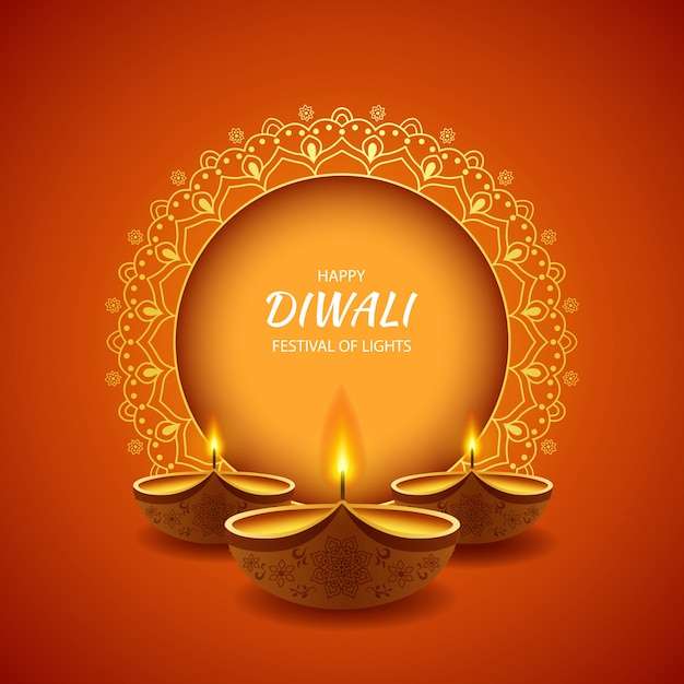 Happy diwali festival of light background with diya lamp. Premium Vector