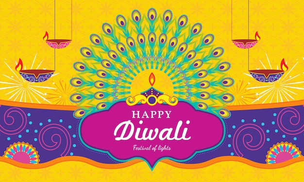 Happy diwali (festival of light) greeting card Premium Vector