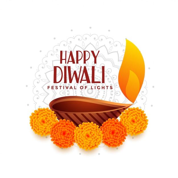 Happy diwali festival of light with diya Free Vector