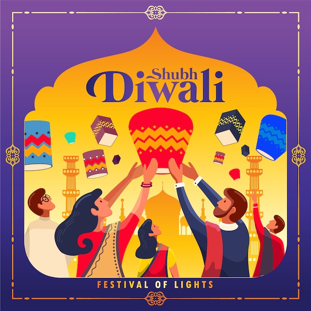 Happy diwali festival of lights background Premium Vector