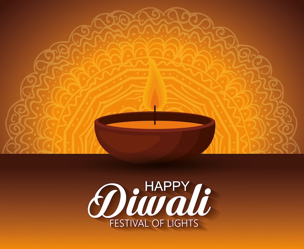Happy diwali festival of lights with candle Free Vector