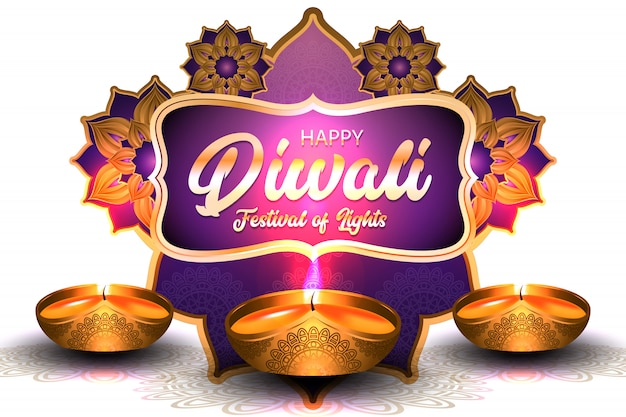 Happy diwali festival of lights with gold oil lamp illustration Premium Vector
