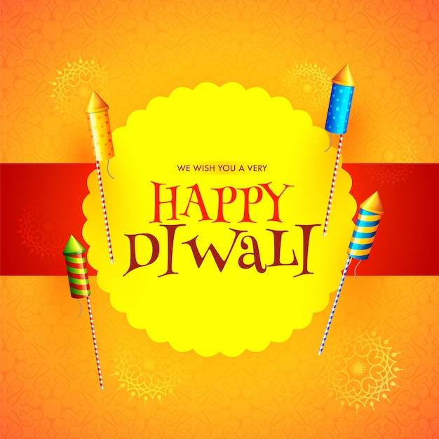 Happy diwali festival message card design with rocket fireworks Premium Vector
