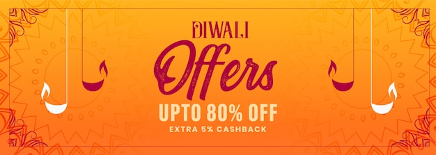 Happy diwali festival offer decorative orange banner Free Vector