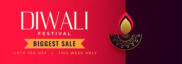 Happy diwali festival sale banner with decorative diya Free Vector