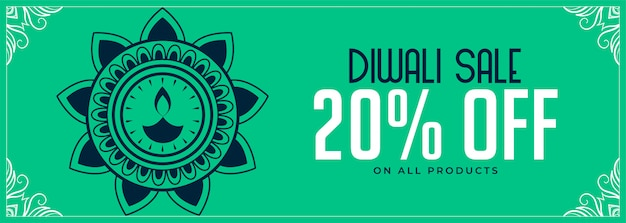 Happy diwali festival sale banner with discounts Free Vector