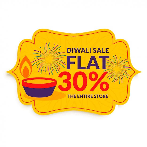 Happy diwali festival sale in flat style Free Vector