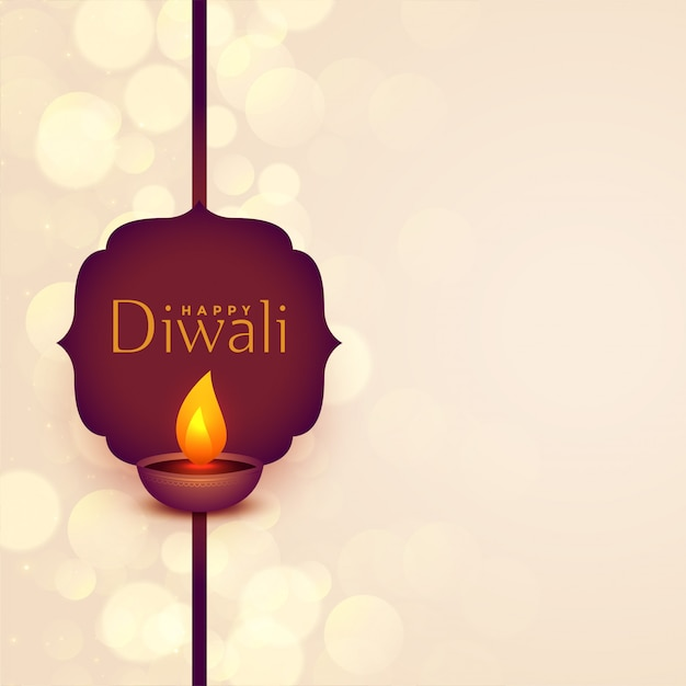Happy diwali festival wishes illustration with text space Free Vector