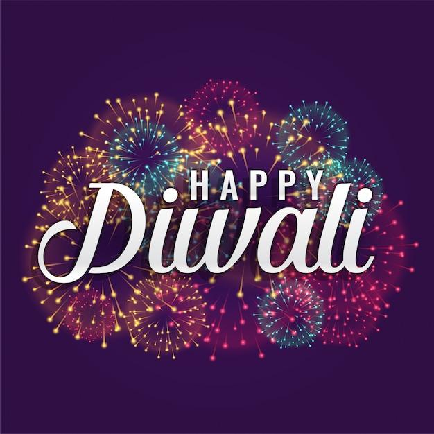 Happy diwali fireworks background design Free Vector
