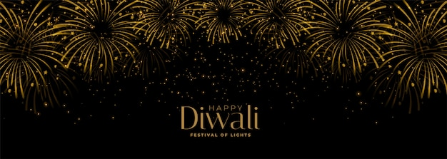 Happy diwali fireworks black and gold banner Free Vector