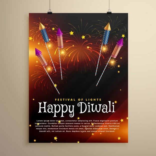 Happy diwali fireworks brochure Free Vector