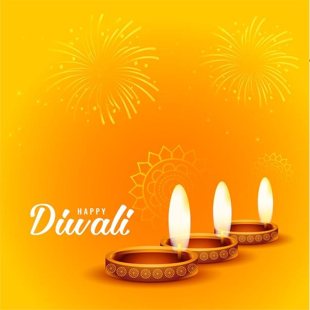 Felice diwali fuochi d'artificio e sfondo diya Vettore gratuito