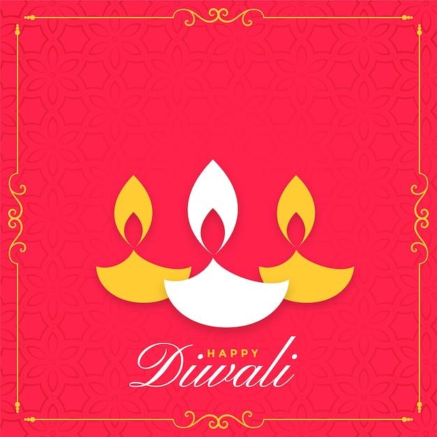 Fondo piatto felice di diwali con tre diya Vettore gratuito