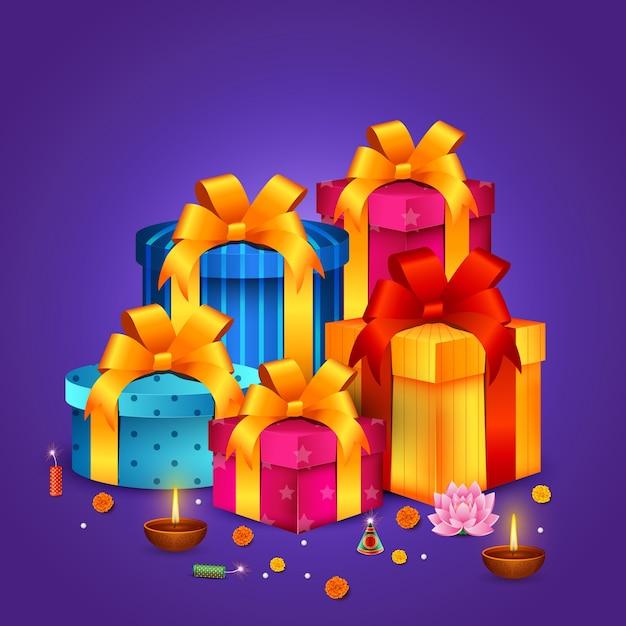 Счастливые подарки дивали, фестиваль огней, праздник бхаи дудж Premium векторы
