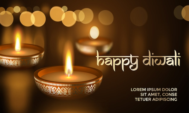 Happy diwali gold candle light indian greeting card lettering text Premium Vector
