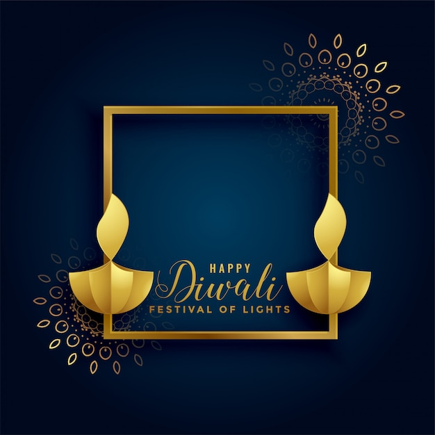 Happy diwali golden background with diya lamps Free Vector