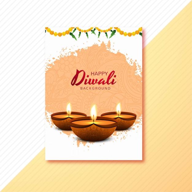 Felice biglietto di auguri diwali decorato con candele e fiori Vettore gratuito