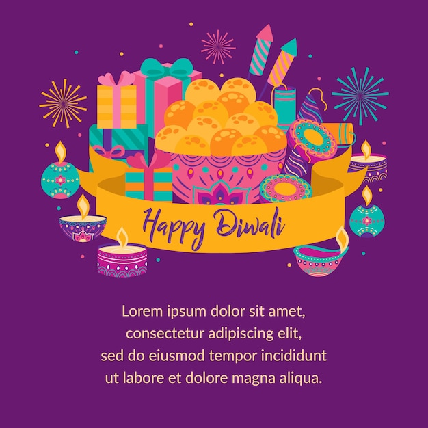 Happy diwali greeting card. festival of light. deepavali light and fire festival. indian deepavali hindu festival of lights Premium Vector