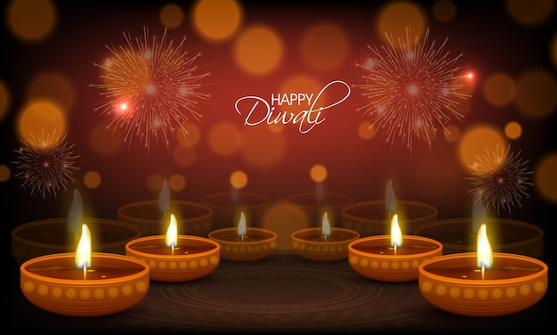 Happy diwali greeting card with illuminated oil lamps vector happy diwali greeting card with illuminated oil lamps premium vector m4hsunfo