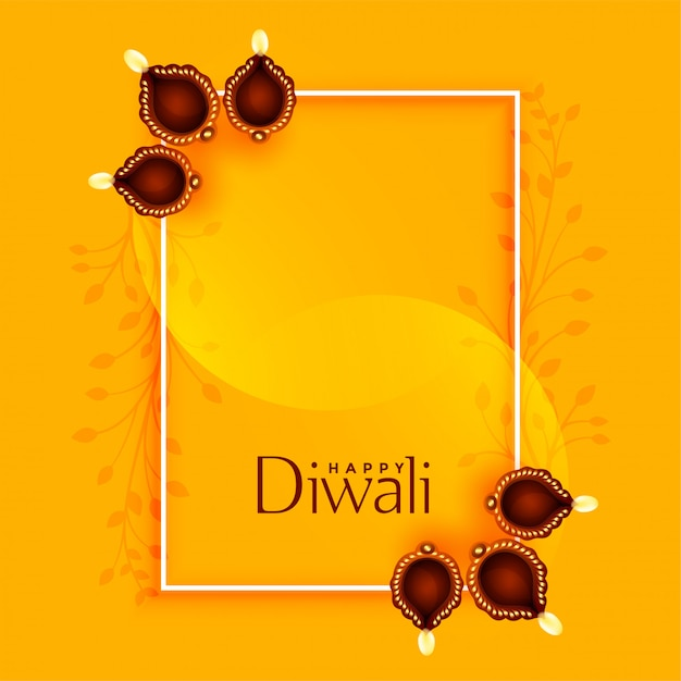 Happy diwali greeting with diya and text space Free Vector