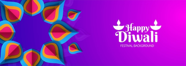 Happy diwali hindu festival banner decorative background Free Vector