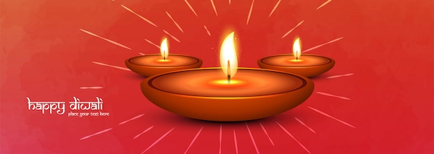 Happy diwali and illumimated oil lamps social media banner Free Vector