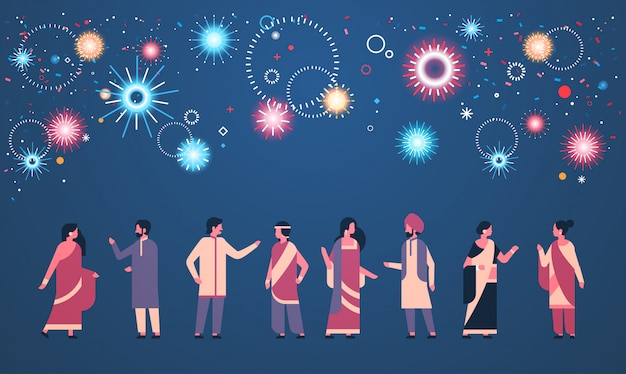 Happy diwali indian people group wearing national traditional clothes Premium Vector