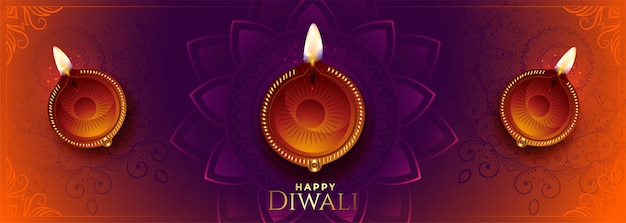 Happy diwali long banner with beautiful colors and diya Free Vector