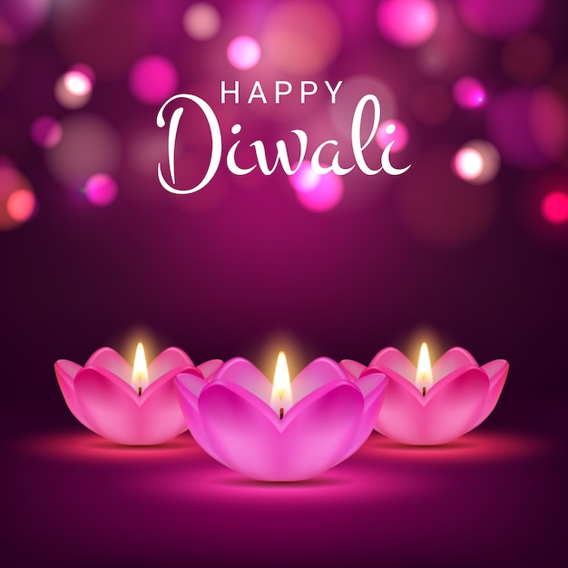 Happy diwali poster, indian festival of lights, hindu deepavali holiday card with realistic burning fire in lotus flowers. diwali greeting card design with 3d lamps on blurred purple background Premium Vector