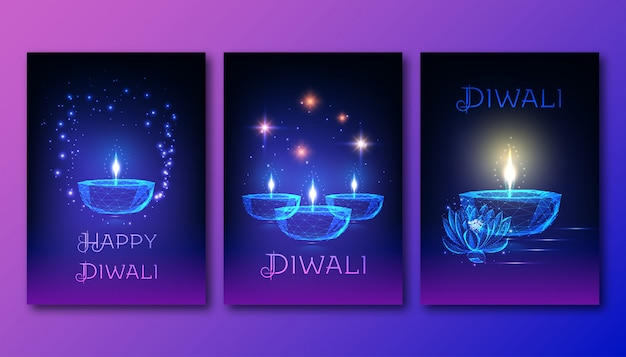 Happy diwali posterswith futuristic glowing low polygonal oil lamp diya, lotus flower, stars. Premium Vector