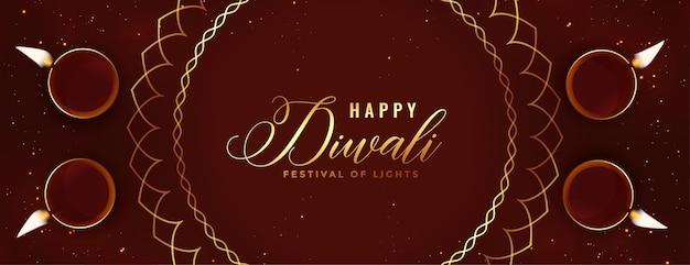 Felice banner religioso di diwali con decorazione diya Vettore gratuito