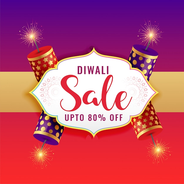 Happy diwali sale background with burning crackers Free Vector