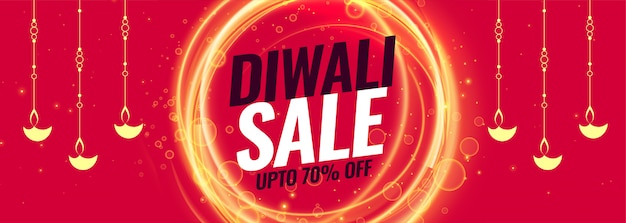 Happy diwali sale and discount banner template Free Vector