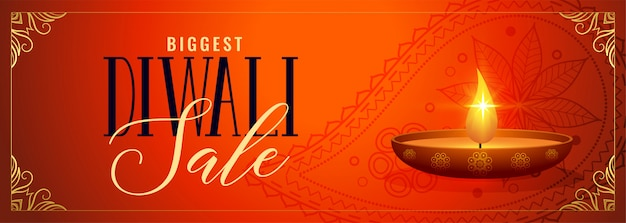 Happy diwali sale and promotion decorative banner Free Vector