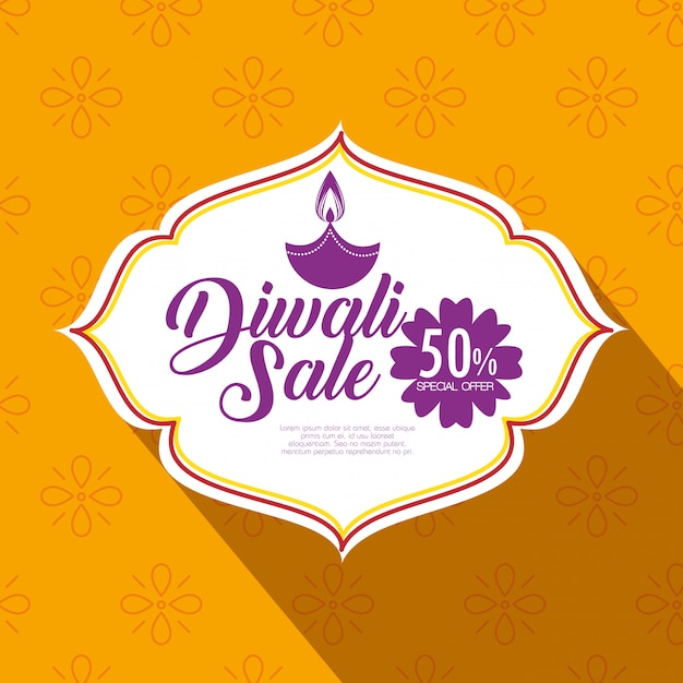 Happy diwali sale with candle Free Vector